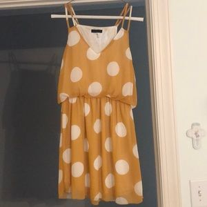 Yellow and White Polka Dot Dress
